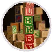 Aubrey - Alphabet Blocks Round Beach Towel