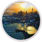 Auckland Oil On Canvaz Round Beach Towel