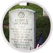 Audie Murphy - Most Decorated Round Beach Towel