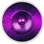 Audio Purple Round Beach Towel