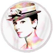 Audrey Hepburn 6 Round Beach Towel