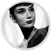 Audrey Hepburn - Black And White Round Beach Towel
