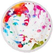 Audrey Hepburn Paint Splatter Round Beach Towel