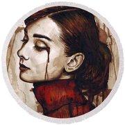 Audrey Hepburn - Quiet Sadness Round Beach Towel by Olga Shvartsur