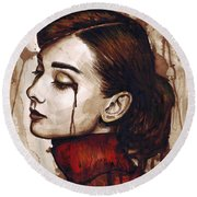 Audrey Hepburn - Quiet Sadness Round Beach Towel
