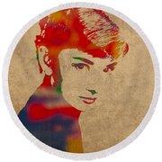 Audrey Hepburn Watercolor Portrait On Worn Distressed Canvas Round Beach Towel