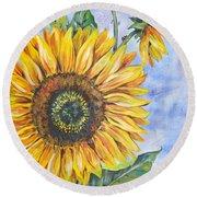 Audrey's Sunflower Round Beach Towel