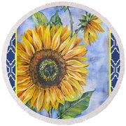 Audrey's Sunflower With Boarder Round Beach Towel