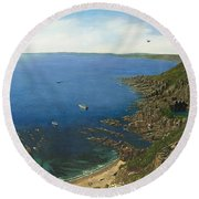 August Afternoon At Whitsand Bay Cornwall Round Beach Towel