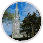 Augustinian Cemetery And Church Round Beach Towel