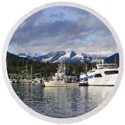 Auke Bay Harbor Round Beach Towel
