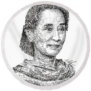 Aung San Suu Kyi Round Beach Towel
