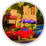 Aupres De Ma Blonde Resto Bar Terrasse Rue St Denis Montreal Cafe Street Scene Art Carole Spandau Round Beach Towel