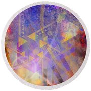 Aurora Aperture - Square Version Round Beach Towel