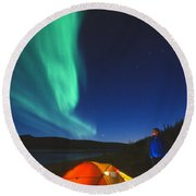 Aurora Borealis Above A Tent And Camper Round Beach Towel