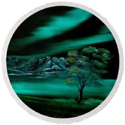 Aurora Borealis In Oils. Round Beach Towel by Cynthia Adams