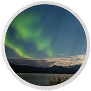 Aurora Borealis Moon-lit Clouds Over Lake Laberge Round Beach Towel
