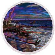 Aurora Borealis Over Florida Round Beach Towel