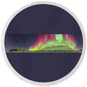 Aurora Panorama Over Northern Studies Round Beach Towel