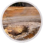 Aurum Geyser In Upper Geyser Basin In Yellowstone National Park Round Beach Towel