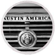 Austin America Grille Emblem -0304bw Round Beach Towel