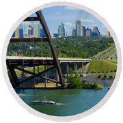 Austin From The 360 Bridge Round Beach Towel