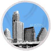 Austin Skyline - Sky Blue Round Beach Towel