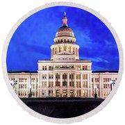 Austin State Capitol Building, Texas - Round Beach Towel