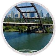 Austin Texas 360 Bridge Vert Round Beach Towel