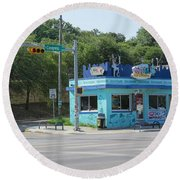 Austin Texas Congress Street Shop Round Beach Towel