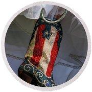 Austin Texas - Red White Blue Sequin Round Beach Towel
