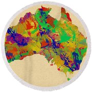 Australia Watercolor   Round Beach Towel