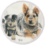 Australian Cattle Dog Puppies Round Beach Towel