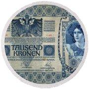 Austria Banknote, 1902 Round Beach Towel