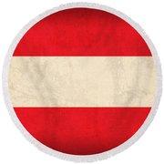 Austria Flag Vintage Distressed Finish Round Beach Towel