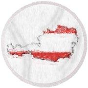 Austria Painted Flag Map Round Beach Towel