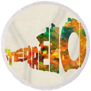 Austria Typographic Watercolor Map Round Beach Towel by Inspirowl Design