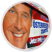 Austrian Politics Round Beach Towel