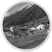 Austrian Village Monochrome Round Beach Towel