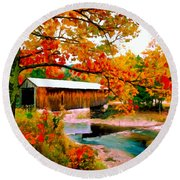 Authentic Covered Bridge Vt Round Beach Towel