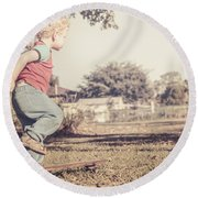Authentic Faded Brown Vintage Skater Child Round Beach Towel