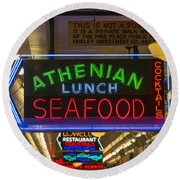 Authentic Lunch Seafood Round Beach Towel