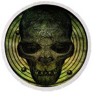 Authentic Skull Of The Vampire Callicantzaros Round Beach Towel