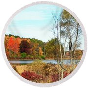 Autmn Pond Closer Look Round Beach Towel
