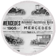 Automobile Ad, 1905 Round Beach Towel