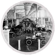 Automobile Display, 1904 Round Beach Towel
