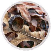 Autumn Acorn And Oak Leaves Round Beach Towel by Jennie Marie Schell