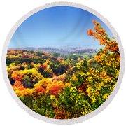 Autumn Across The Hills Round Beach Towel