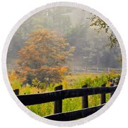 Autumn Along The Fence Round Beach Towel