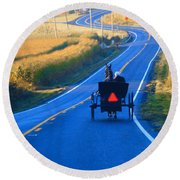 Autumn Amish Buggy Ride Round Beach Towel
